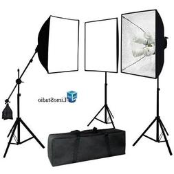LimoStudio Photography 3 Softbox Light Stand Continuous Ligh