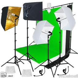 Photography Backdrop stand 3 Muslins Studio Lighting Light S