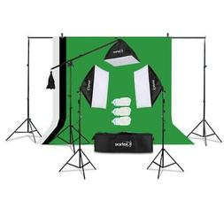 Photography Photo 3 Softbox Studio Lighting Kit w/ 3 Backgro