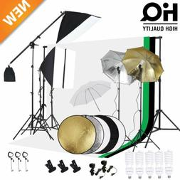 Photography Studio Backdrop Softbox Umbrella Lighting Kit Ba