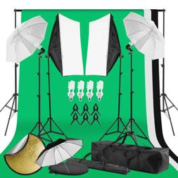 Photography Studio Continuous Lighting Kit Polyester Backdro