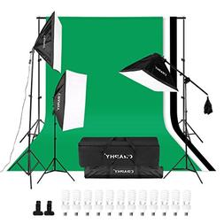 CRAPHY 2000W Photography Studio 4-Socket Softbox Continuous