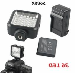 Pro 36 LED Video Light + Rechargeable Battery Kit For DV Can