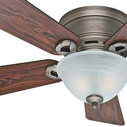 "Hunter Fan 42"" Low Profile Ceiling Fan in Antique Pewter wit"