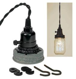 Rustic Mason Jar Pendant Lamp Kit Barn Roof Lighting Hanging