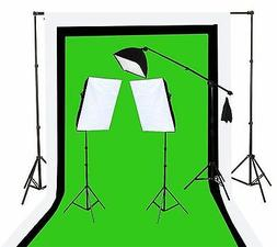 Fancierstudio U9004SB-10x12BWG Light Kit 2000 Watt Photo Vid