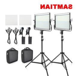 USA SAMTIAN 2pcs/Kit Bi-color LED Video Light Camera Studio