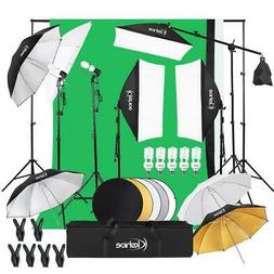 Video Photo Studio Photography Lighting Kit 3 X Backdrops 5
