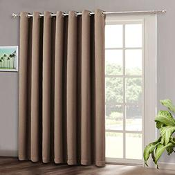 RYB HOME Wide Large Sliding Door Curtains - Blackout Energy