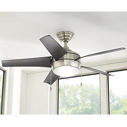 Windward 44 in. LED Indoor Brushed Nickel Ceiling Fan with L