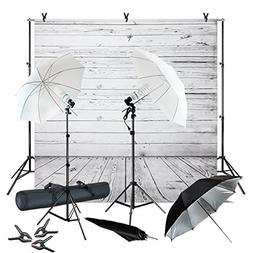 Julius Studio Wood Floor Backdrop Muslin with Umbrella Light