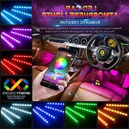 wsiiroon Car LED Strip Lights, 4pcs 48 LED Bluetooth App Con